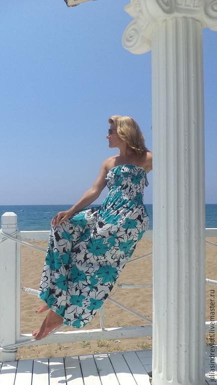 М_009 Платье-сарафан, лиф на резинке, цвет бело-зеленый с черным, 100 % хлопок.