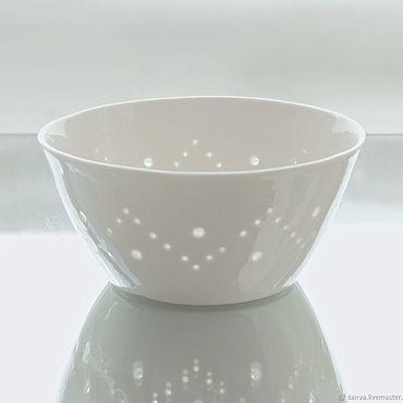 Посуда ручной работы. Ярмарка Мастеров - ручная работа Белая фарфоровая чашка, миска, пиала ручной работы Канва. Handmade.
