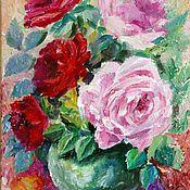 Картины ручной работы. Ярмарка Мастеров - ручная работа Розы в вазе Картина маслом. Handmade.
