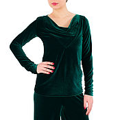 Одежда handmade. Livemaster - original item Blouse Women chiffon top Blouse long sleeve blouse Green