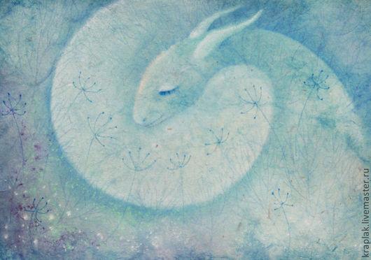 Фантазийные сюжеты ручной работы. Ярмарка Мастеров - ручная работа. Купить Бирюзовая фея снов...Картина-принт на холсте.. Handmade.