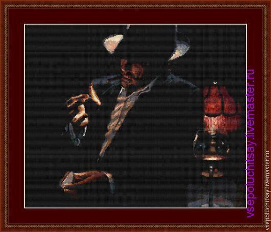 Вышивка ручной работы  Ярмарка Мастеров Ручная работа  Купить Схема для вышивки крестом Вот такой вот мужчина Hand made Вышивка на черной канве