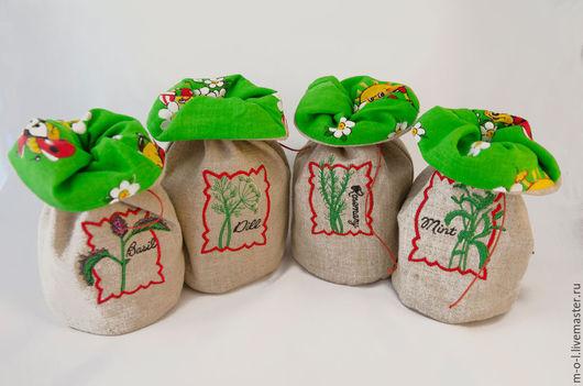 Кухня ручной работы. Ярмарка Мастеров - ручная работа. Купить Льняные мешочки для пряных трав с машинной вышивкой. Handmade.