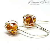 Украшения handmade. Livemaster - original item Sterling silver earrings amber Buds, long silver earrings yellow. Handmade.