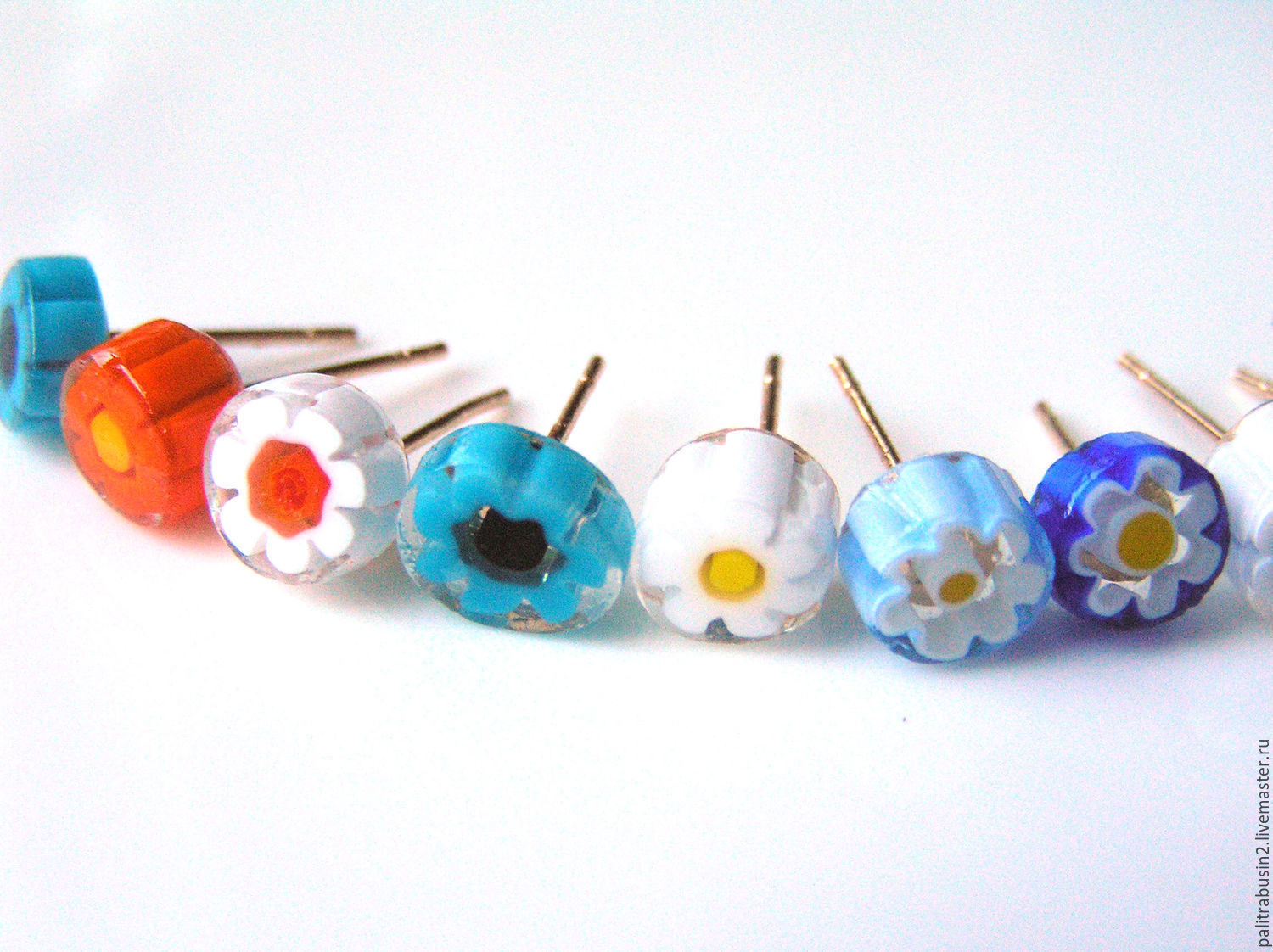 Earrings handmade. Livemaster - handmade. Buy 'Daisy' earrings glass studs.Earrings, chamomile, earrings with millefiori