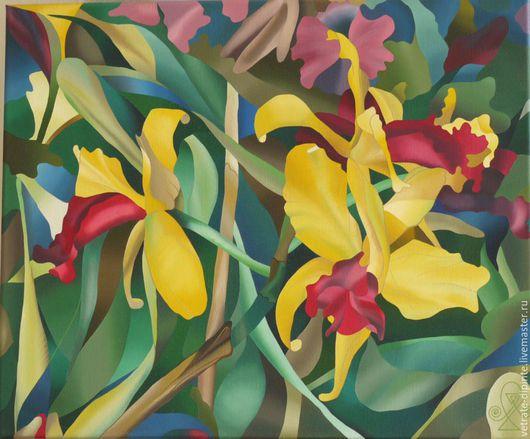 """Абстракция ручной работы. Ярмарка Мастеров - ручная работа. Купить """"Орхидеи"""" картина маслом 50х60. Handmade. Картина маслом, яркая"""
