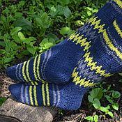 """Аксессуары ручной работы. Ярмарка Мастеров - ручная работа Гольфы вязаные """"Желтое на синем"""" Подарок ручной работы. Handmade."""