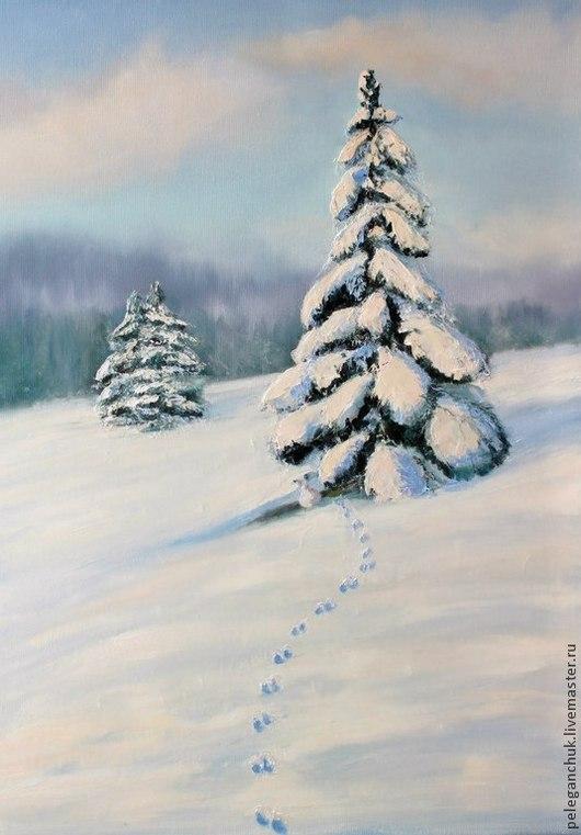 Пейзаж ручной работы. Ярмарка Мастеров - ручная работа. Купить Картина маслом на холсте   - Зима. Handmade. Белый, зима, ель