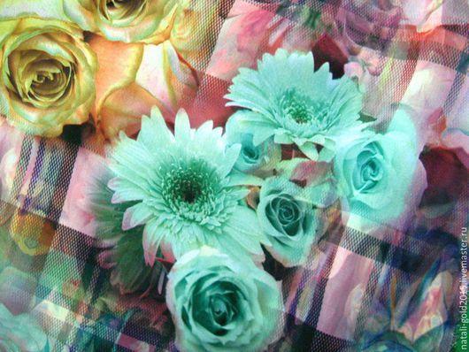"""Шитье ручной работы. Ярмарка Мастеров - ручная работа. Купить Шифон """"Живые цветы"""".. Handmade. Разноцветный, итальянские ткани"""