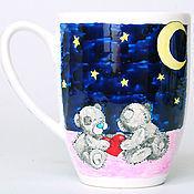"""Посуда ручной работы. Ярмарка Мастеров - ручная работа Чашка """"Влюбленные мишки Тедди под луной"""". Handmade."""