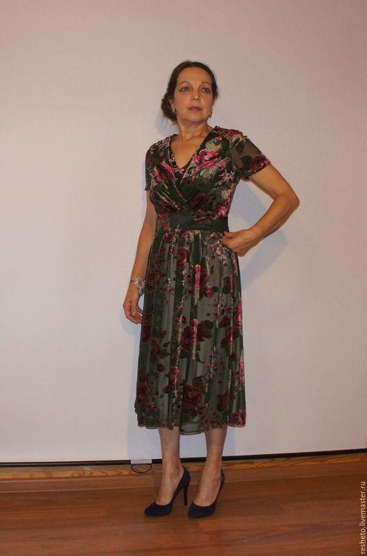 """Платья ручной работы. Ярмарка Мастеров - ручная работа. Купить Платье """"Бархатные розы"""". Handmade. Комбинированный, платье для вечеринки"""