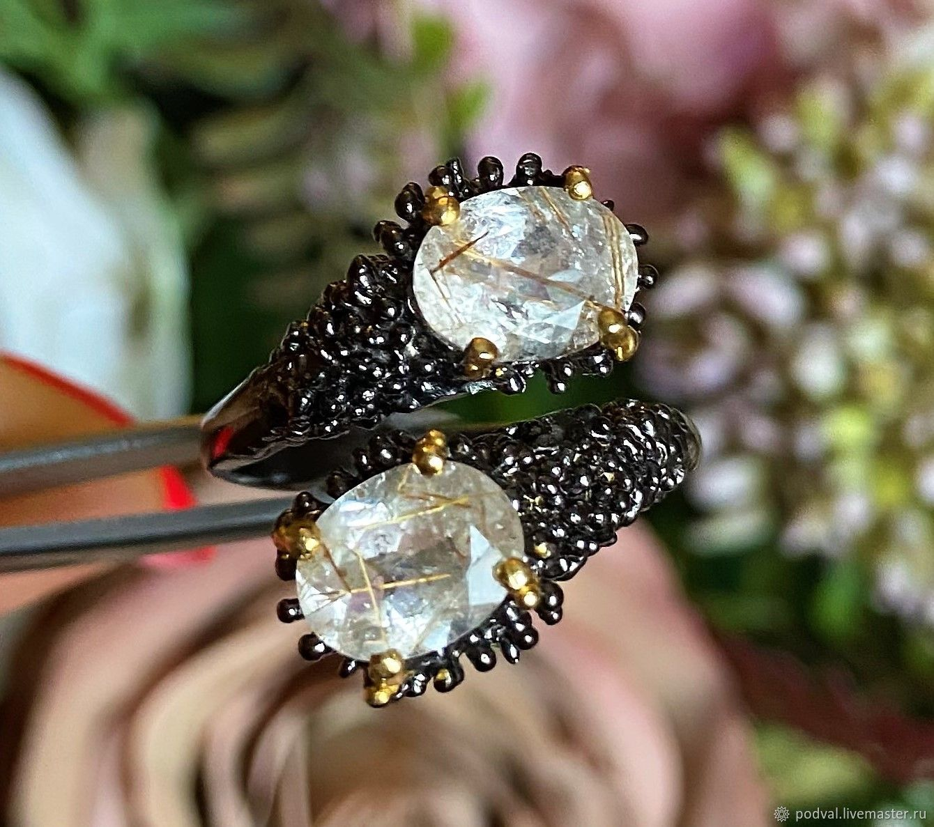 Ring with gold rutile quartz 'Cupid's Arrows'(betram), Rings, Korolev,  Фото №1