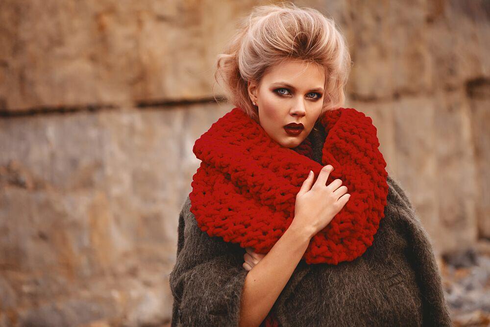 шарф из толстой плюшевой пряжи