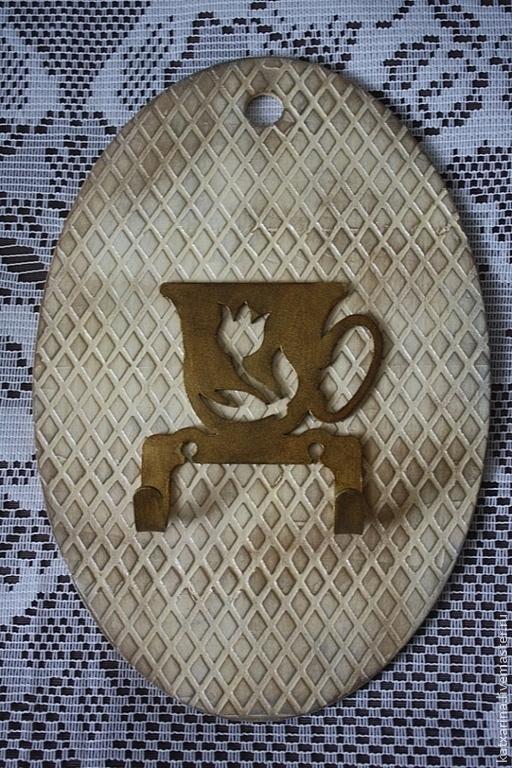 """Кухня ручной работы. Ярмарка Мастеров - ручная работа. Купить Вешалка для полотенец """"Чашка чая"""". Handmade. Бежевый, подарок на новоселье"""