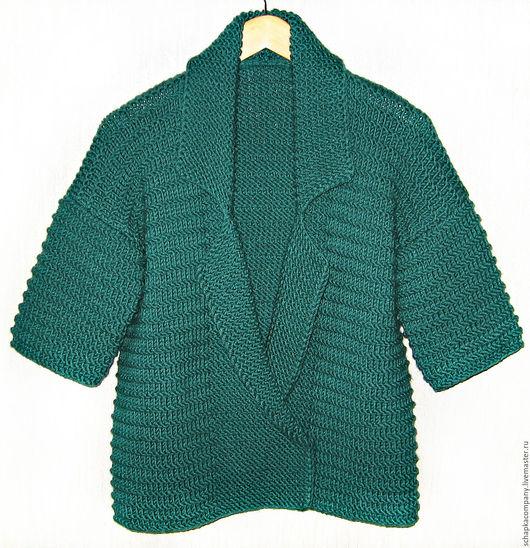 Пиджаки, жакеты ручной работы. Ярмарка Мастеров - ручная работа. Купить Жакет Nefrit. Handmade. Тёмно-зелёный, вязаный кардиган