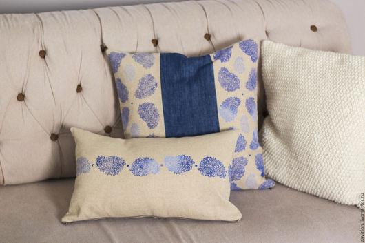 Декоративные подушки. Подушки с ручной набойкой. Пейсли орнамент. Диванные подушки. Ручная работа. Ярмарка мастеров
