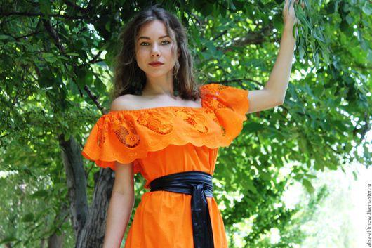 """Платья ручной работы. Ярмарка Мастеров - ручная работа. Купить Летнее платье """"А-пель-син"""". Handmade. Оранжевый, хлопок"""