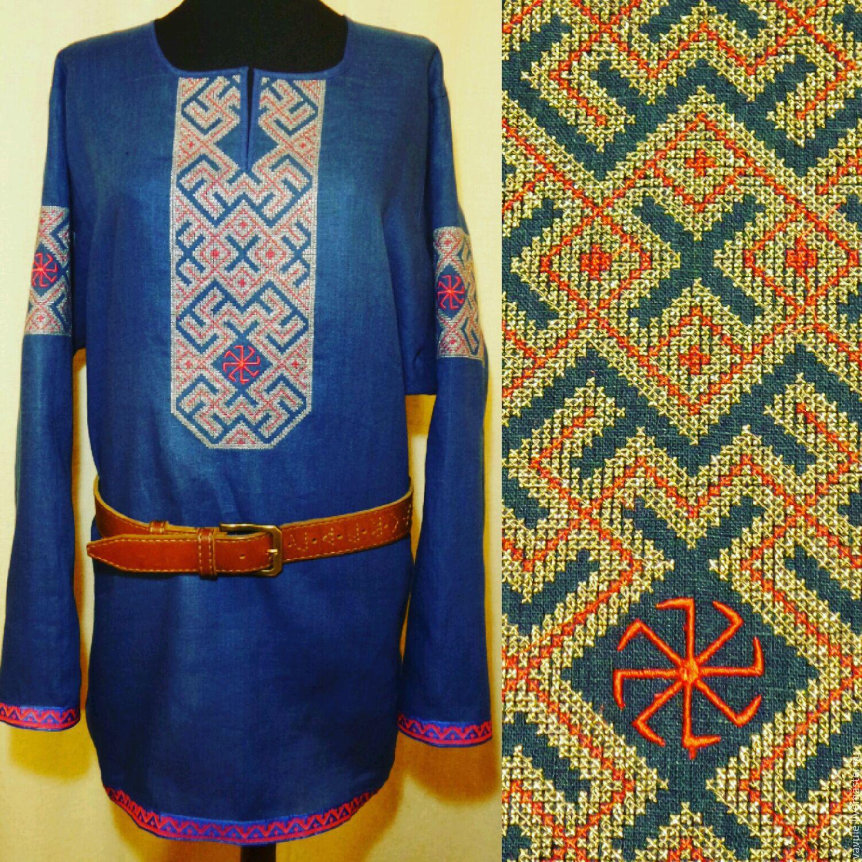 Вышивка на мужской славянской рубахе