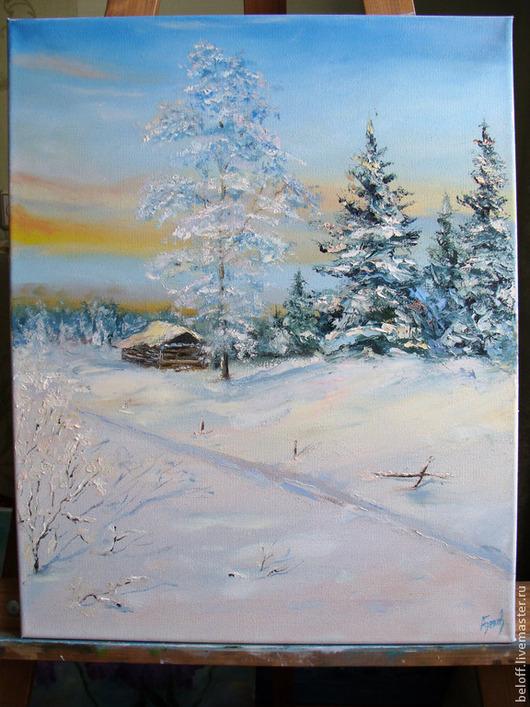 """Пейзаж ручной работы. Ярмарка Мастеров - ручная работа. Купить картина маслом """"Зимушка"""". Handmade. Пейзаж, зимний пейзаж, зима"""
