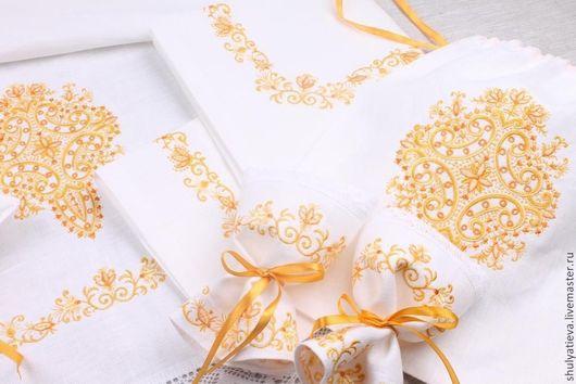 Свадебные аксессуары ручной работы. Ярмарка Мастеров - ручная работа. Купить Венчальный набор Благословение в золотисто-оранжевой гамме 8 предметов. Handmade.