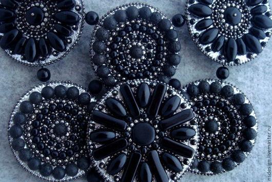 Колье, бусы ручной работы. Ярмарка Мастеров - ручная работа. Купить Кожаное колье BLACK MOON. Handmade. Черный