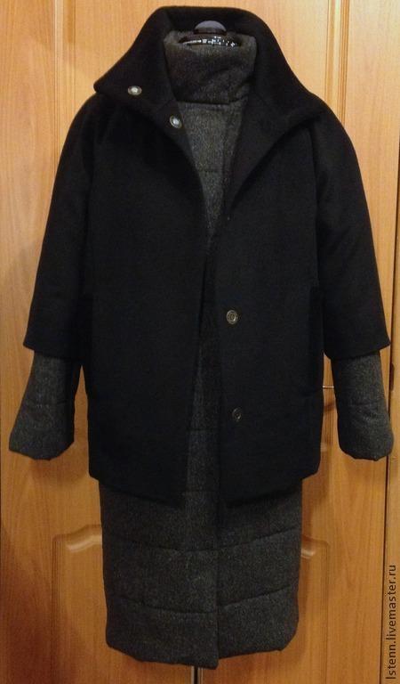 Верхняя одежда ручной работы. Ярмарка Мастеров - ручная работа. Купить пуховик-пальто Два в одном. Handmade. Черный