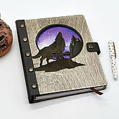 Канцелярские товары handmade. Livemaster - original item Wooden notebook with leather spine with replaceable sheets. Handmade.