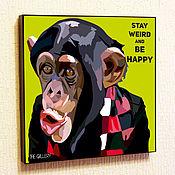 Подарки к праздникам handmade. Livemaster - original item Painting poster Pop Art Monkey. Handmade.