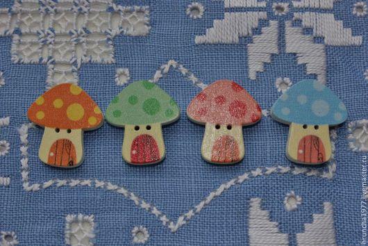 Шитье ручной работы. Ярмарка Мастеров - ручная работа. Купить Пуговицы деревянные грибочки цветные. Handmade. Пуговицы декоративные
