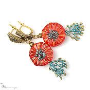 Украшения handmade. Livemaster - original item Earrings classic: Red daisies flowers lampwork. Handmade.