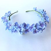Свадебный салон handmade. Livemaster - original item Wreath with blue hydrangea flowers. polymer clay.. Handmade.