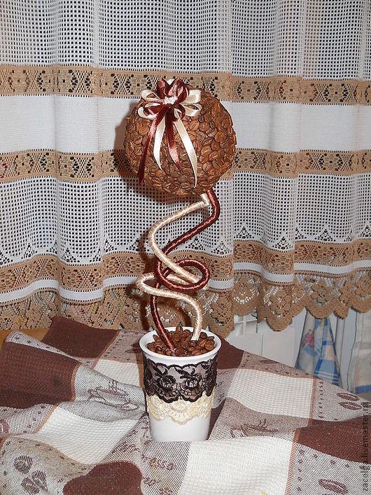 Топиарии ручной работы. Ярмарка Мастеров - ручная работа. Купить Кофейный топиарий. Handmade. Коричневый, ленты, гипс, топиарий, кофе
