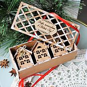 handmade. Livemaster - original item Christmas decorations: Wooden houses in a box. Handmade.