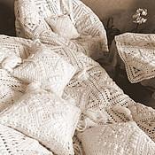 """Для дома и интерьера ручной работы. Ярмарка Мастеров - ручная работа Набор - плед, наволочки, скатерть, """"Вязаный интерьер"""". Handmade."""