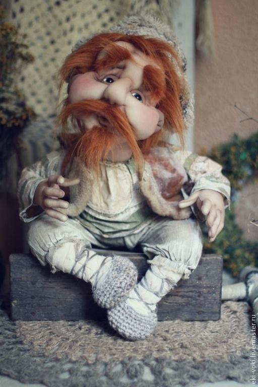Коллекционные куклы ручной работы. Ярмарка Мастеров - ручная работа. Купить Добрый день в хату. Handmade. Бежевый, дед, серебряный