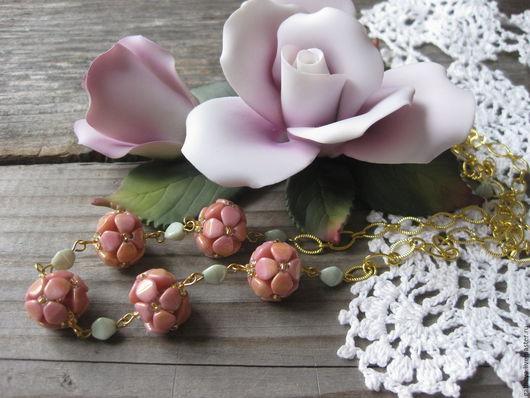 Колье, бусы ручной работы. Ярмарка Мастеров - ручная работа. Купить Стильные длинные бусы из плетеных бусин Роза. Handmade.
