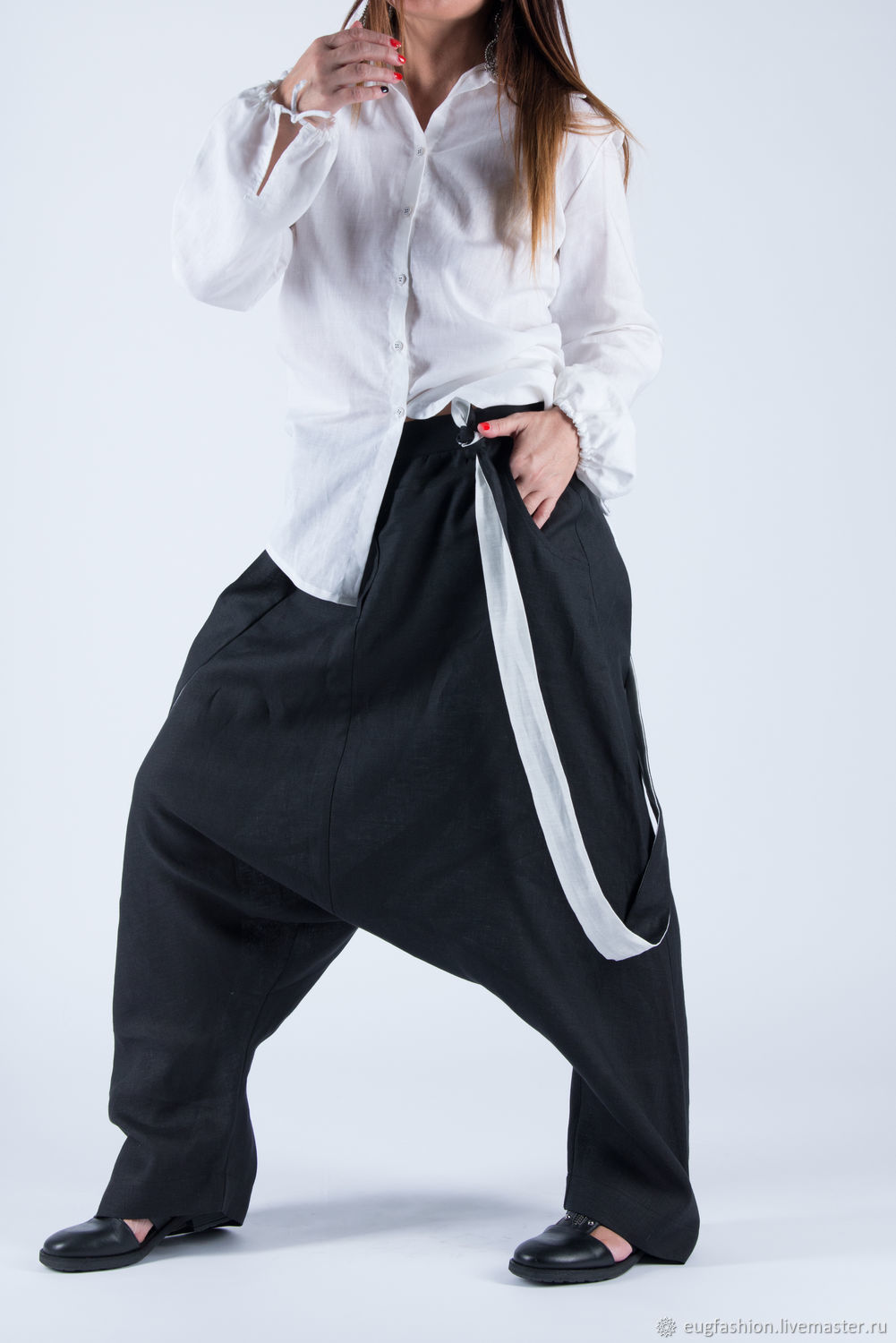 Black linen trousers with suspenders - PA0732LE, Bloomers, Sofia,  Фото №1