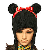 Аксессуары handmade. Livemaster - original item Hat with ears the Girlfriend of Mickey mouse knitted. Handmade.