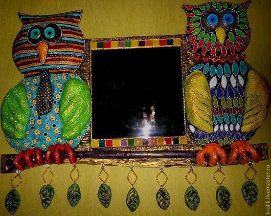 """Зеркала ручной работы. Ярмарка Мастеров - ручная работа. Купить Зеркало """"Он и она """".. Handmade. Совы, деревянная основа"""