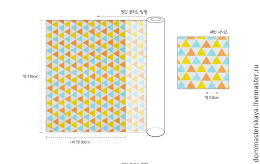Шитье ручной работы. Ярмарка Мастеров - ручная работа. Купить 100% хлопок, Корея, треугольники мелкие желто-голубые. Handmade.