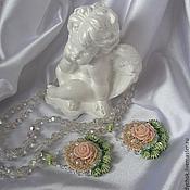 Украшения ручной работы. Ярмарка Мастеров - ручная работа серьги с вышивкой Розовый променад. Handmade.