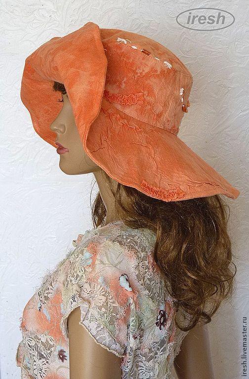 """Шляпы ручной работы. Ярмарка Мастеров - ручная работа. Купить Шляпа и сумка """"Оранжевое лето"""" комплект пляжный льняной.. Handmade."""