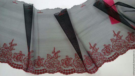 Аппликации, вставки, отделка ручной работы. Ярмарка Мастеров - ручная работа. Купить вышивка на сетке  Mil-85 черно/красного цвета. Handmade.