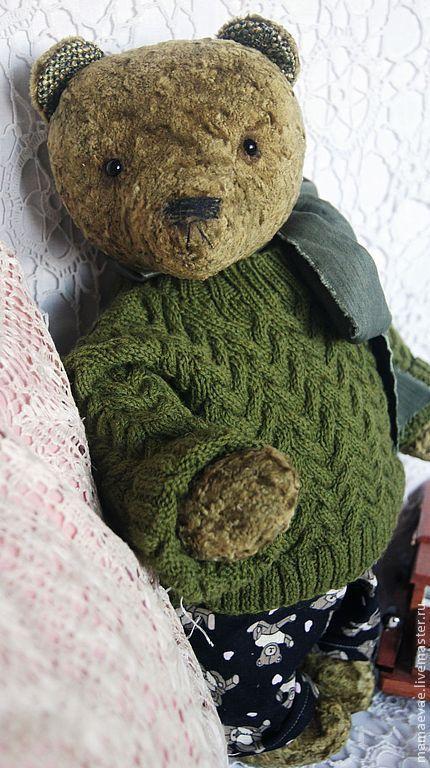 Мишки Тедди ручной работы. Ярмарка Мастеров - ручная работа. Купить Мишка в штанишках. Handmade. Хаки, интерьерная игрушка