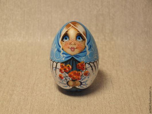 """Матрешки ручной работы. Ярмарка Мастеров - ручная работа. Купить Яйцо-матрешка """"Рябинка"""". Handmade. Голубой, яйцо, сувенир"""