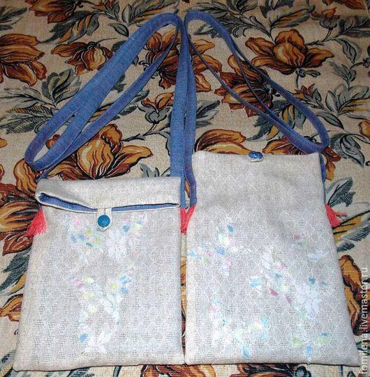 Женские сумки ручной работы. Ярмарка Мастеров - ручная работа. Купить Маленькая летняя сумочка из льна с бабочками. Handmade. Серый