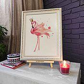 handmade. Livemaster - original item Pictures: Cross stitch Royal Flamingo. Handmade.