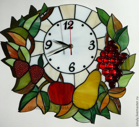 """Часы для дома ручной работы. Ярмарка Мастеров - ручная работа. Купить Витражные часы """" Фруктовые"""". Handmade. Часы, тиффани"""