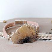 Украшения handmade. Livemaster - original item Large bracelet with dragon agate Ash pink and gray. Handmade.
