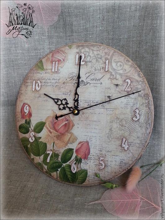 """Часы для дома ручной работы. Ярмарка Мастеров - ручная работа. Купить Часы """"Винтажные розы"""". Handmade. Бежевый, настенные часы"""